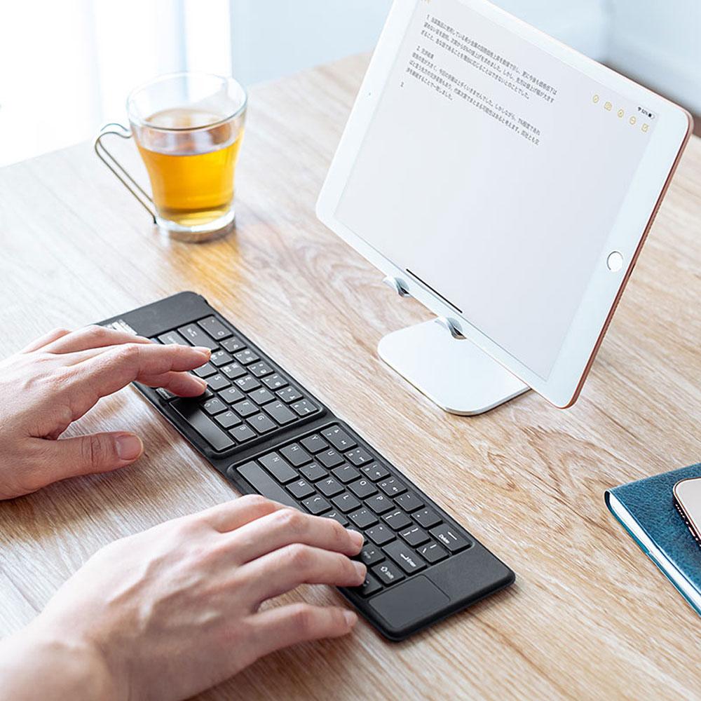 サンワサプライ、iPhoneとの組合せて使うのに便利な折り畳み式のBluetoothキーボード「400-SKB070」を発売